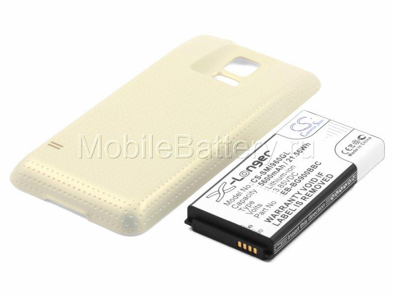 Усиленный аккумулятор для Samsung SM-G900F Galaxy S5, золотой