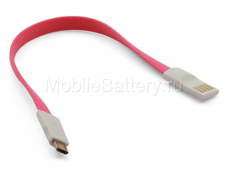 Магнитный кабель синхронизации USB - Micro USB (розовый, 20 см)