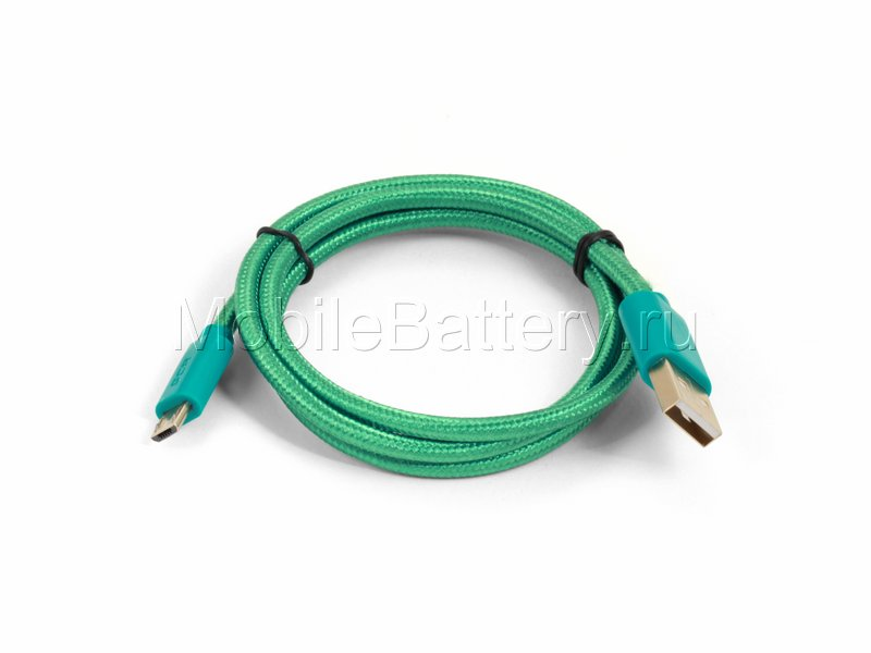 Кабель синхронизации USB - Micro USB (зеленый, 80 см) в оплетке
